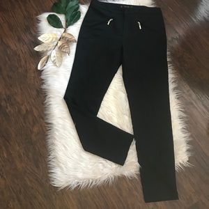 Zara Black Pintuck Faux Zipper Pants